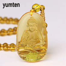 Yumten Bead Chain Necklace Citrine Pendant Ethnic Women Fine Jewelry Wedding Bijoux Buddha Lucky Natural Crystal Accessories Men недорого
