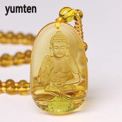 Yumten бусы Цепочки и ожерелья цитриновый кулон Этническая Для женщин изысканное украшение на свадьбу Bijoux счастливый будда натуральный