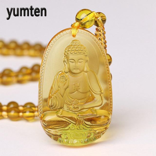Yumten Bead Chain Necklace Citrine Pendant Ethnic Women Fine Jewelry Wedding Bijoux Buddha Lucky Natural Crystal Accessories Men