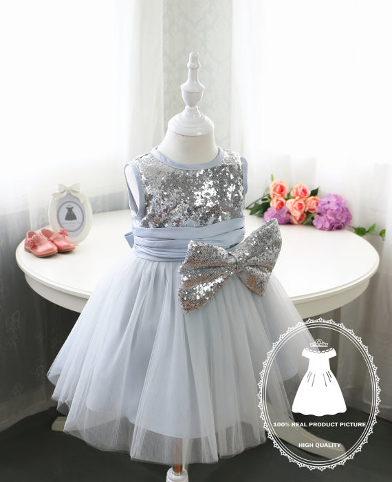 Grey baby dress tulle ball gown with sparkly silver sequins bow toddler pageant dress little girl 1st birthday party outfits все цены