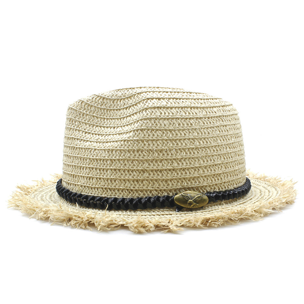 LUCKYLIANJI Unisex Fashion Raffia Straw Hat Summer Beach Travel - Accesorios para la ropa - foto 3