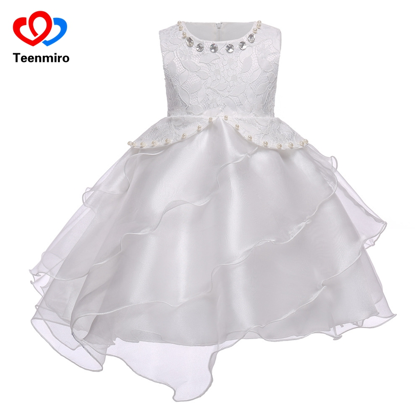 White Summer Dress for Girls Flower Pearls Tulle Kids Clothes Lace Dresses First Communion Ball Gown Girl Evening Gowns Elbise lovely pink ball gown short flower girl dresses 2018 beaded pearls first communion dresses for girls pageant dress