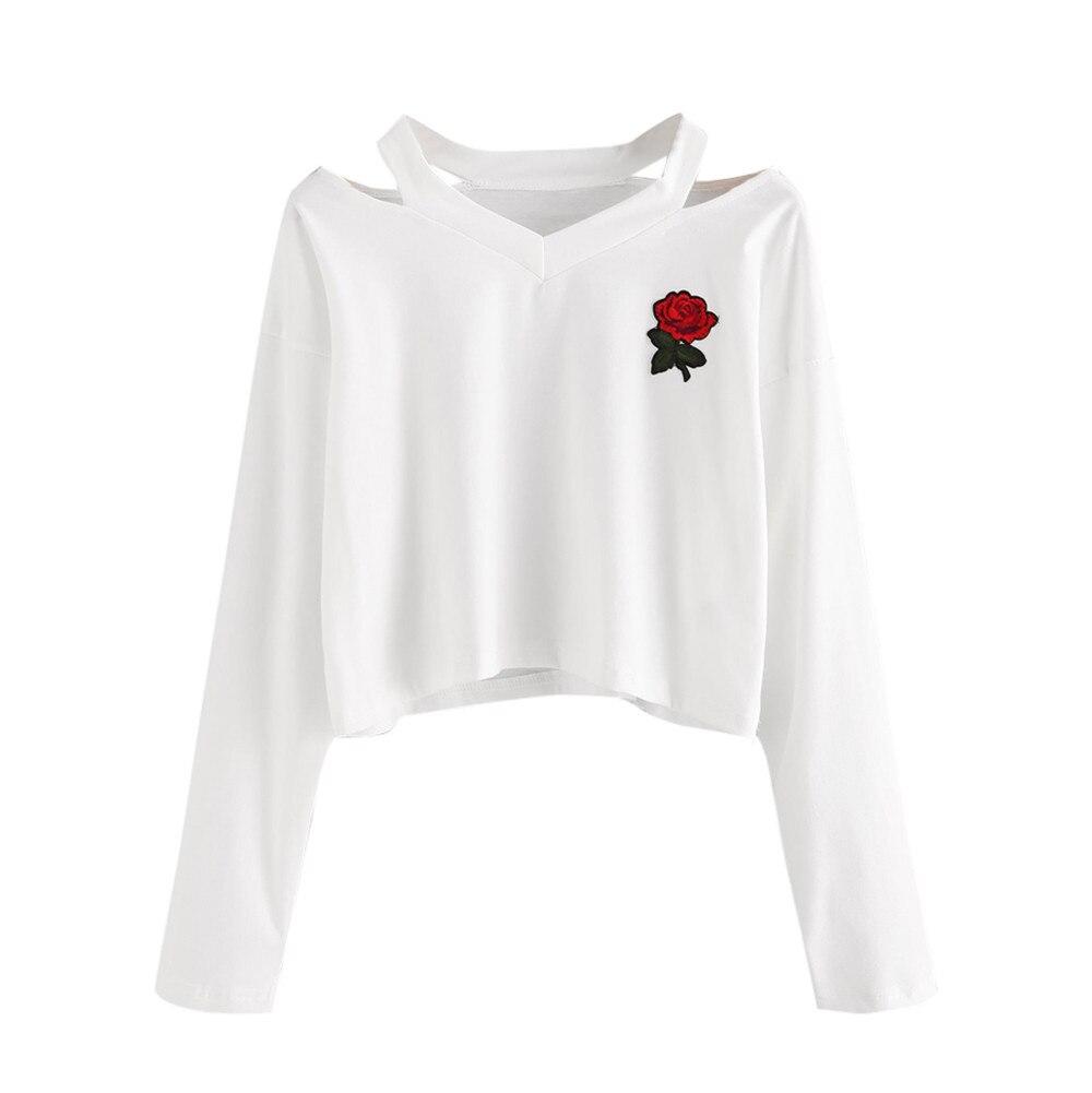 US $6.14 49% OFF Hoodies Women Long Sleeve Sweatshirt Ladies Rose Print Hoodie 2017 white Sweatshirts V Neck Blouse Hoodies Pullover Tops sp14a in