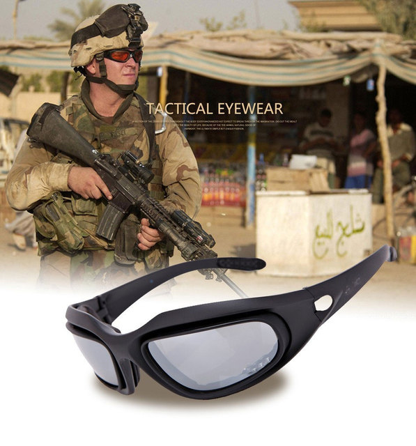 d6182c1608 C5 X7 Army Goggles Military Sunglasses 4 Lens Game Tactical Glasses Outdoor  Sports Sun Glasses Polarized