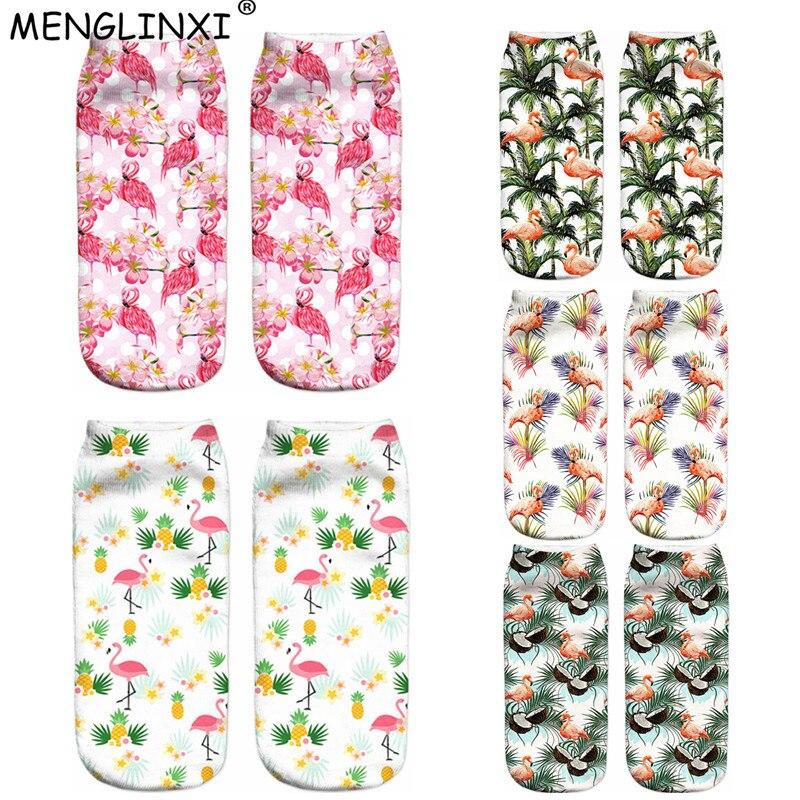 2018 New 3D Flamingo Printing Women   Socks   Brand   Sock   Fashion Coconut Tree Unisex   Socks   Meias Female Funny Low Ankle Femme   Sock
