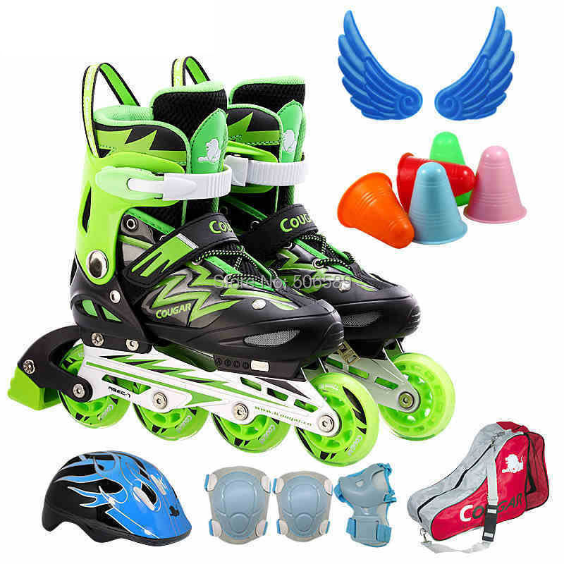Free Shipping Children's Roller Skates 2015 New Design Green And Deep Pink  82A ABEC-7 Bearings