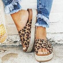 MoneRffi/пикантные босоножки с леопардовым принтом; летние женские шлепанцы; повседневная обувь на платформе с открытым носком; женские пляжные вьетнамки; женские шлепанцы без задника