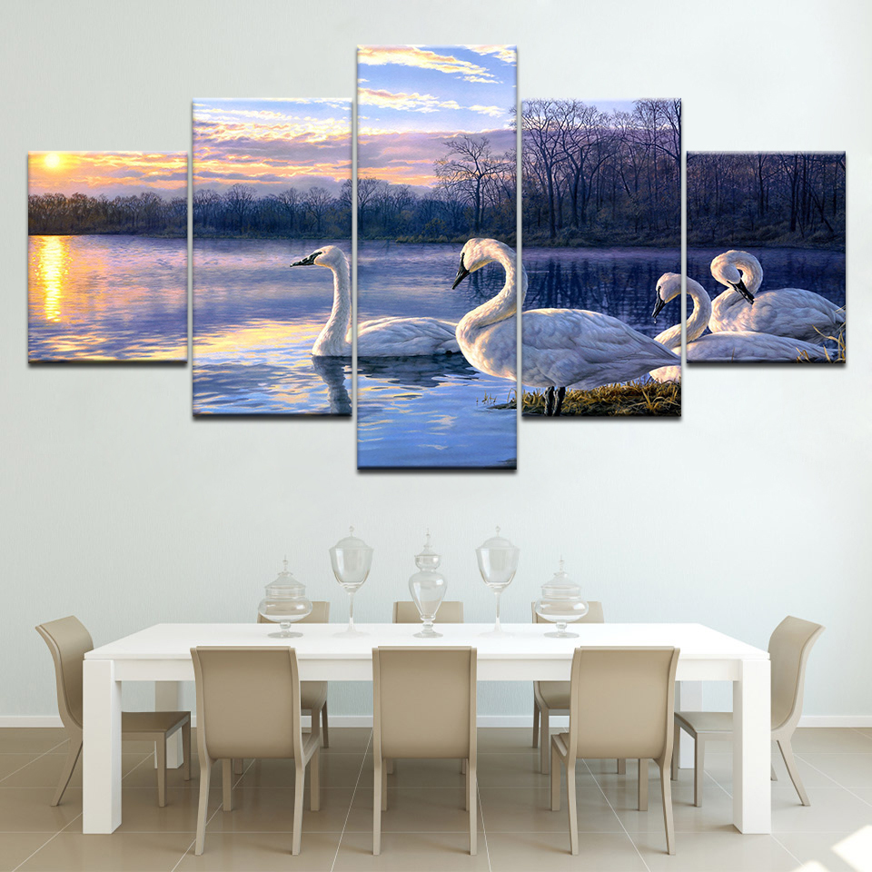 Modern HD Printed Painting Wall Art Pictures Home Decor 5 Panel Swans River Landscape De ...