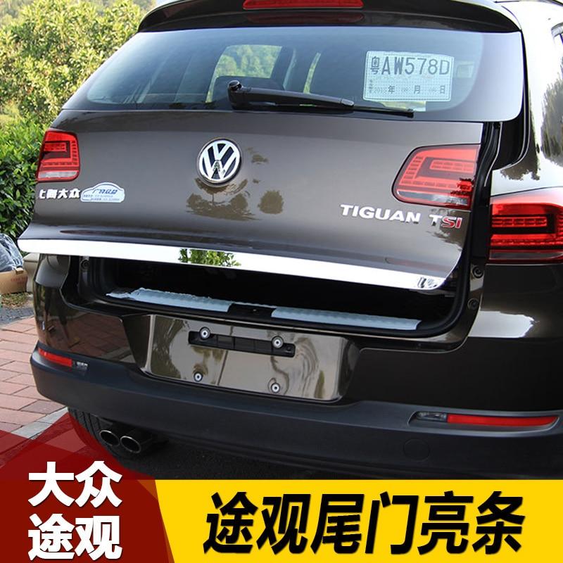 Alta qualidade de aço inoxidável porta traseira tronco lidar com capa cauda portão guarnição moldura moldagem estilo para volkswagen tiguan 2010--2018