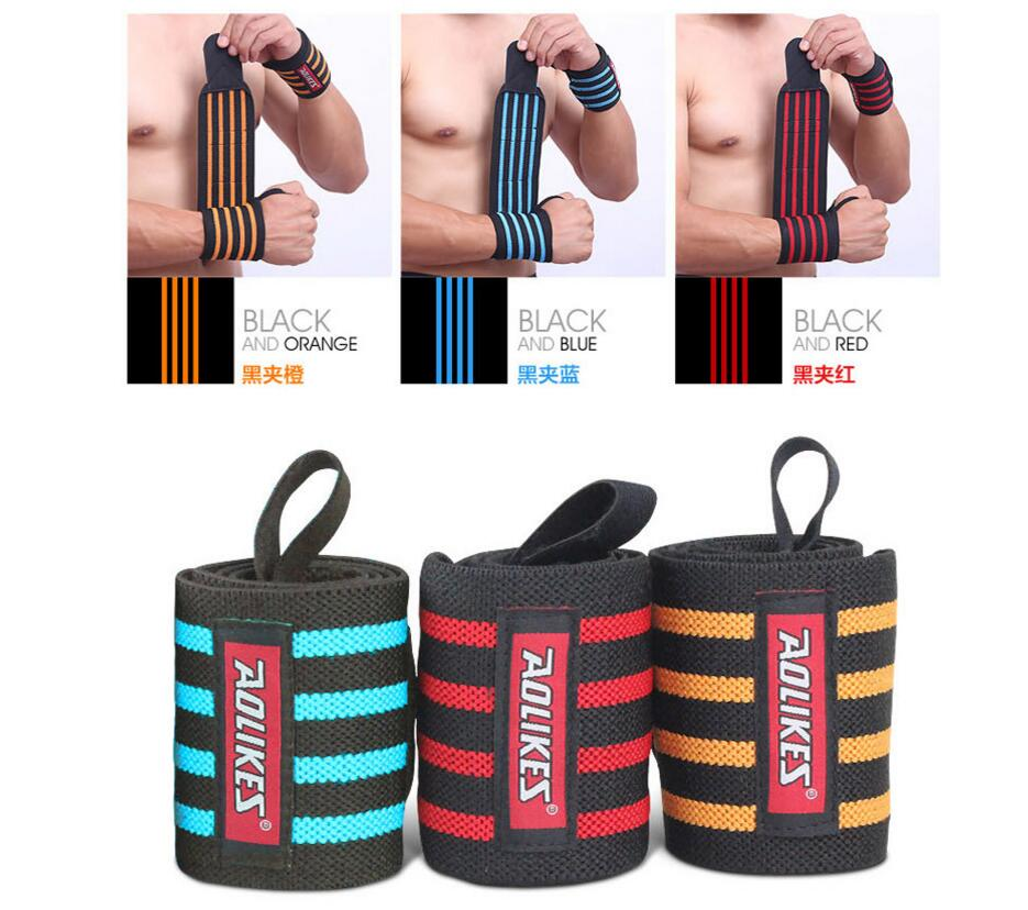 fast shipping! 2 pcs/lot Weight Lifting Wristband Sport Safety Wrist Support Gym Training Wrist Straps Fitness Bandage Wraps