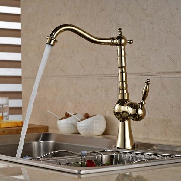 Luxury Golden Brass Kitchen Faucet Swivel Spout Single Handle Hole Vanity Sink Mixer Tap Hot and Cold Water free shipping high quality chrome brass kitchen faucet single handle sink mixer tap pull put sprayer swivel spout faucet