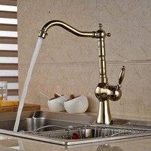 Роскошный золотой кухни латунь носик одной ручкой отверстие раковина смеситель горячая и холодная вода