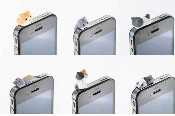 6 Piece Sent At Random Universal 3.5mm phone Earphone Jack Plug Super Cute Dust Plug Cat Cute kitten dust-proof Stopper Cap 1