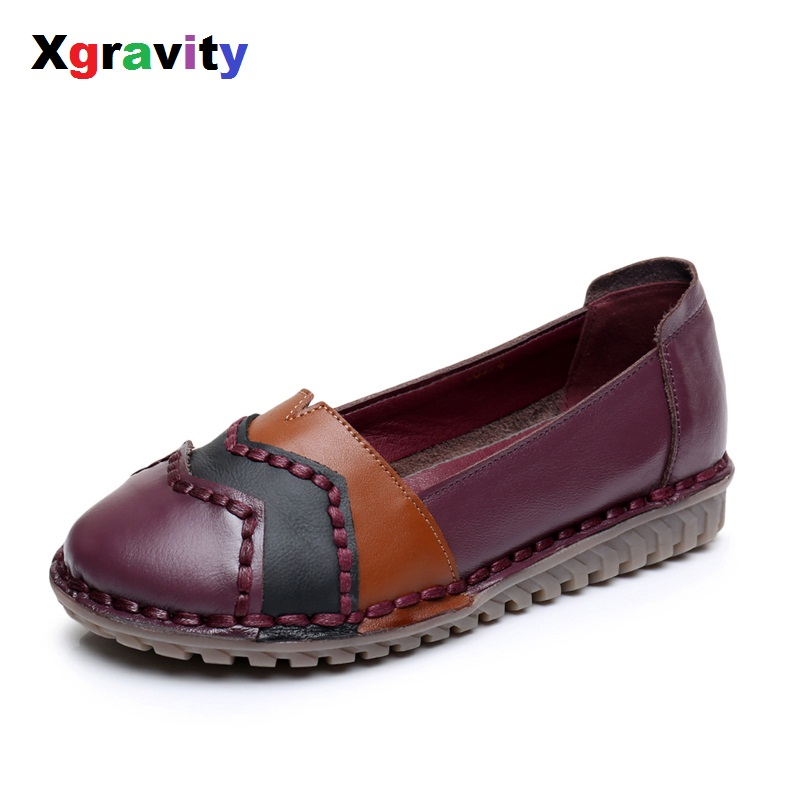 Xgravity Hot Summer Autumn Fashion Mixed Colors Round Toe Flat Shoes Vintage Genuine Leather Women Flats Girl Loafer Flats C087