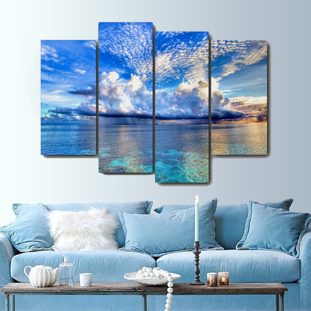 Clear Lake Blue Sky Scenery Canvas Painting Calligraphy Prints Home Decoration Wall Art Poster Pictures For Living Room Bedroom(China)
