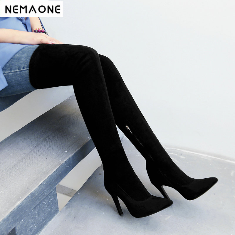 New super high Heels women over the knee boots poined toe ladies spring autumn Boots party dress shoes woman large size 43 new sexy women boots winter over the knee high boots party dress boots woman high heels snow boots women shoes large size 34 43