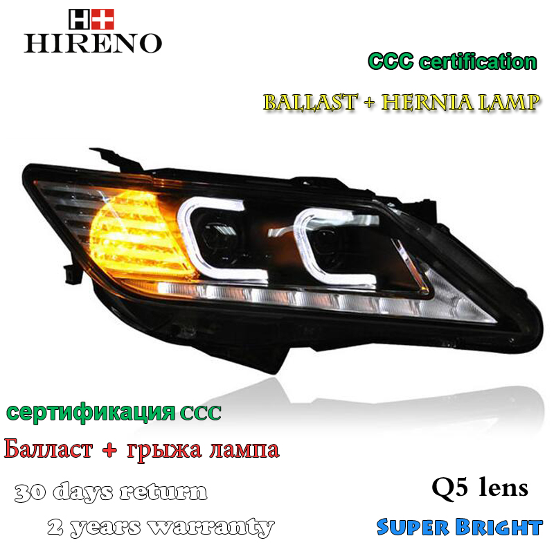 Hireno Headlamp for 2012-2014 Toyota Camry Headlight Assembly LED DRL Angel Lens Double Beam HID Xenon 2pcs hireno headlamp for 2014 2016 toyota yaris l headlight assembly led drl angel lens double beam hid xenon 2pcs