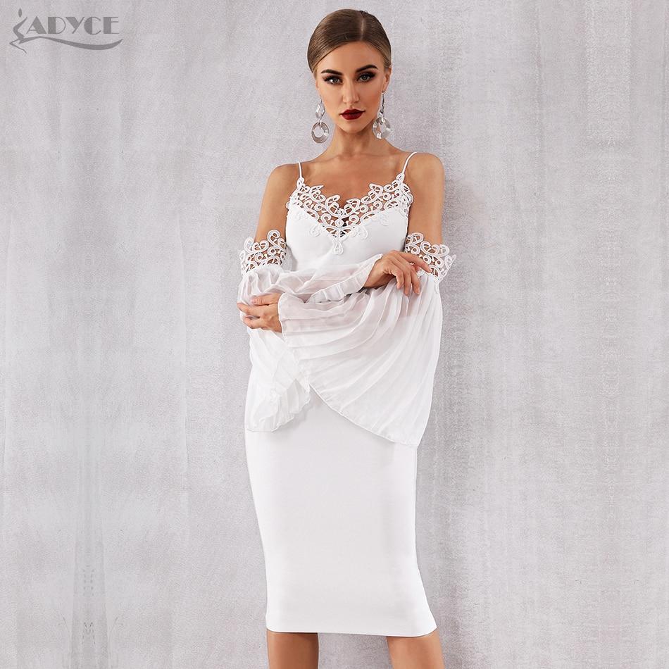 Adyce 2019 nouveau automne femmes Bandage robe Sexy Flare manches blanc dentelle robe d'été élégante célébrité soirée robe de soirée - 2