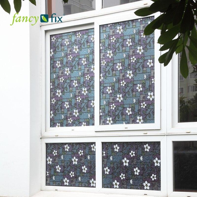 fancy fix flower stained glass decorative window filmpvc static cling self adhesive glass filmprivacy glass window sticker - Christmas Decorative Window Film