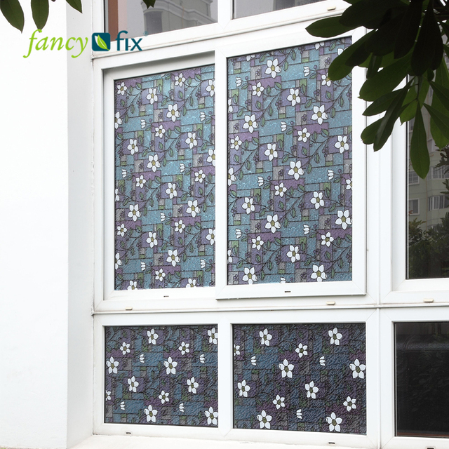 FANCY-FIX Flower Stained Glass Decorative Window Film,PVC Static Cling Self Adhesive Glass Film,Privacy Glass window sticker