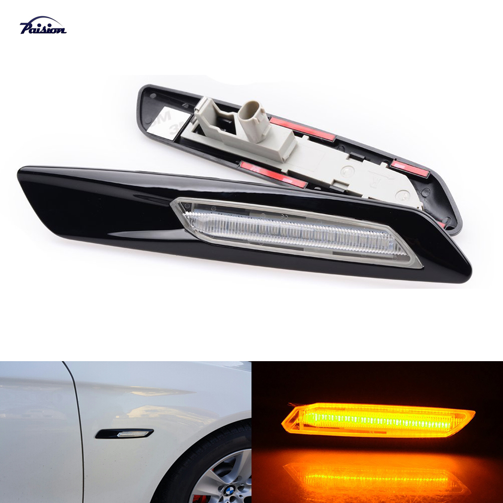 2× F10 LED Amber Light Clear Side Marker Lights Turn Signal For BMW 1//3//5 Series