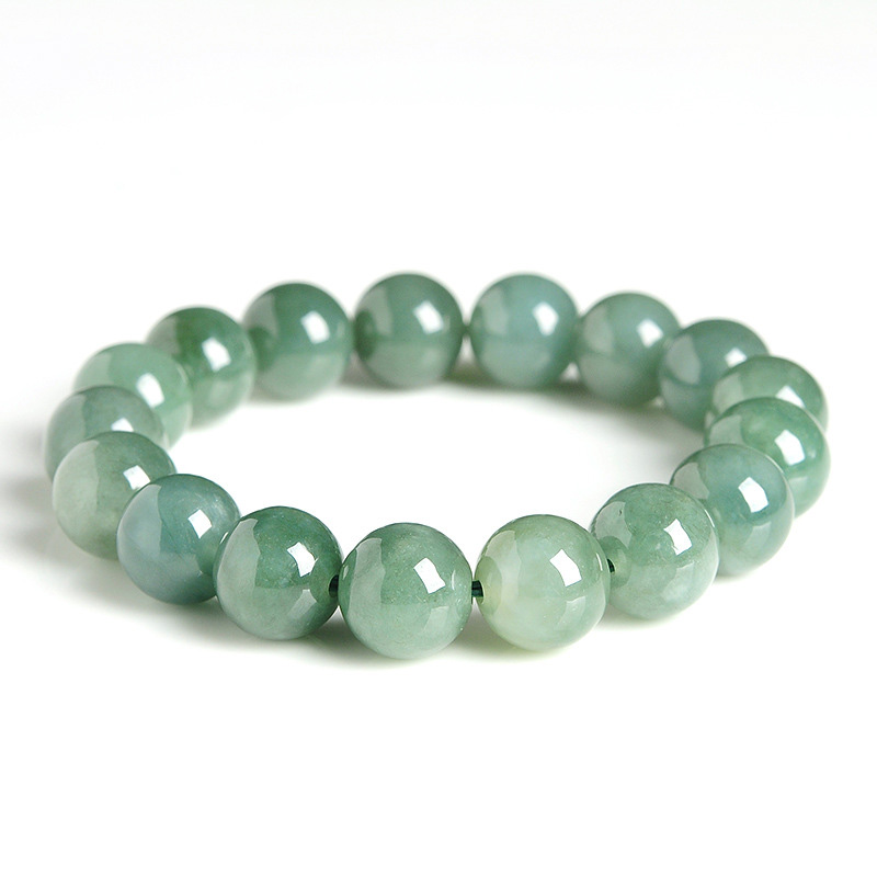 "Pretty 10mm 100/% Natural Green Jade Jadeite Round Gemstone Bracelet 7.5/""AAA"