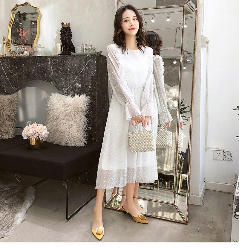 BGTEEVER Ruffles Polka Dot Women Chiffon Dress Elastic Waist Flare Sleeve Female Long Vestidos A-line White Dress 19 17