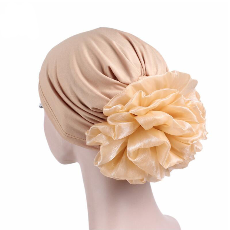 New Woman Big Flower Turban Hats Elastic Cloth Head Cap Hat Chemo Beanie Ladies Hair Accessories Muslim Scarf Cap for Hair Loss new cotton slouchy wrinkle cap double flower floral beanie hats for cancer chemo patients