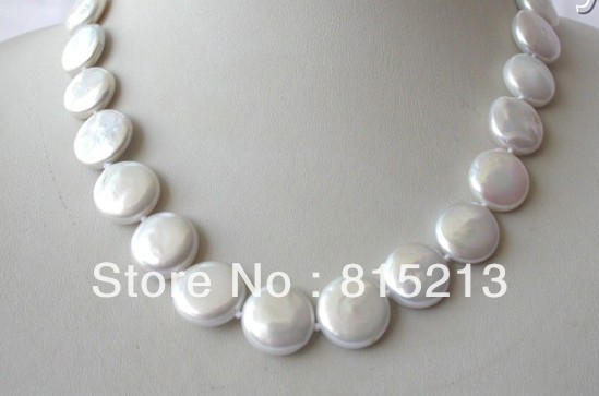 N188 stunning big 15mm round white coin freshwater cultured pearl necklace % Discount AAA цена