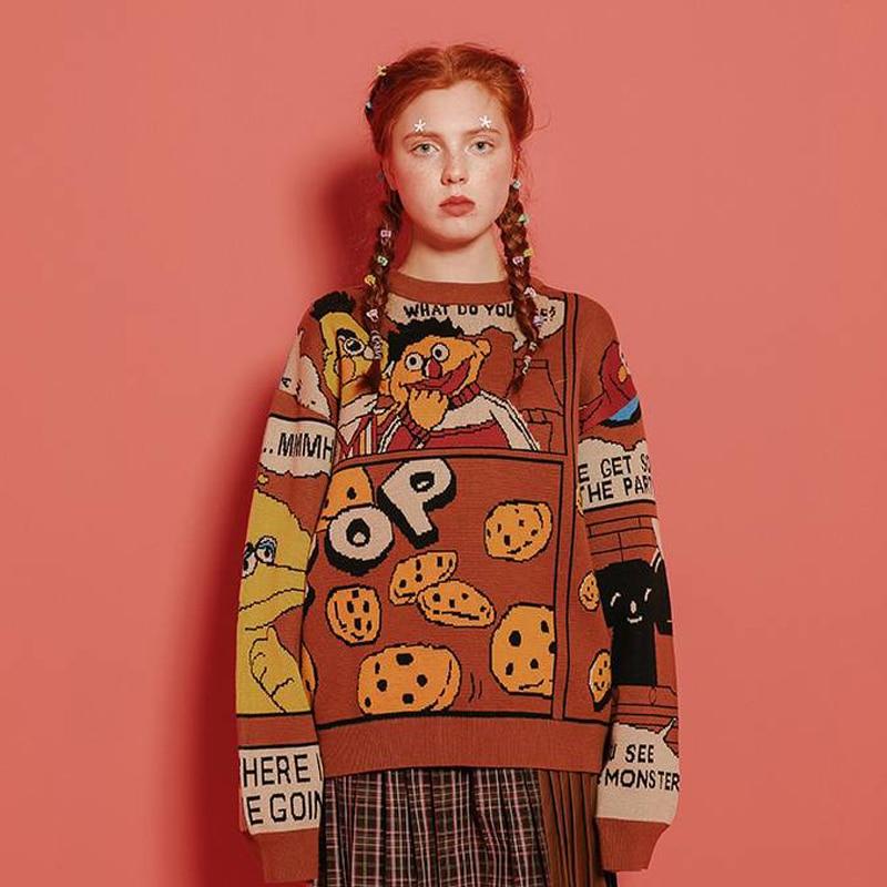 Fashion Women Winter Warm Thick Sweater Original Design Brown Sesame Street Letters Brown Ladies Warm Sweaters