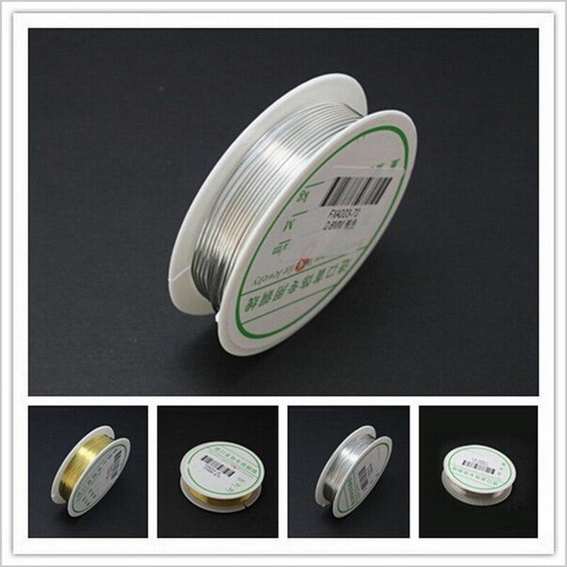 Бесплатная доставка, медные провода 0,4 мм-0,8 мм 2,5-8 м с золотым и серебряным покрытием, проволока для бисероплетения, фурнитура для ювелирных ...
