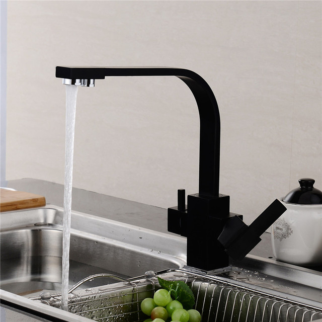 Usherlife Multifunctional Black Kitchen Faucet Drinking Water Cranes  Hotu0026Cold Water Mixer Tap Antique ORB Pure Water