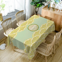 Summer Style Waterproof Tablecloth Lemon Sea Wave Pattern Polyester Print  Multifunctional Rectangle Table Cover ZB