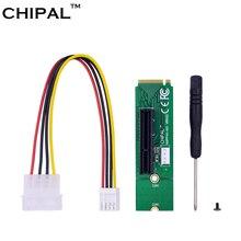 CHIPAL 100pcs NGFF M.2 M2 M מפתח זכר לpci e 4X 1X נקבה מתאם ממיר כרטיס עם כבל חשמל עבור PCI E 1X 16X Riser כרטיס