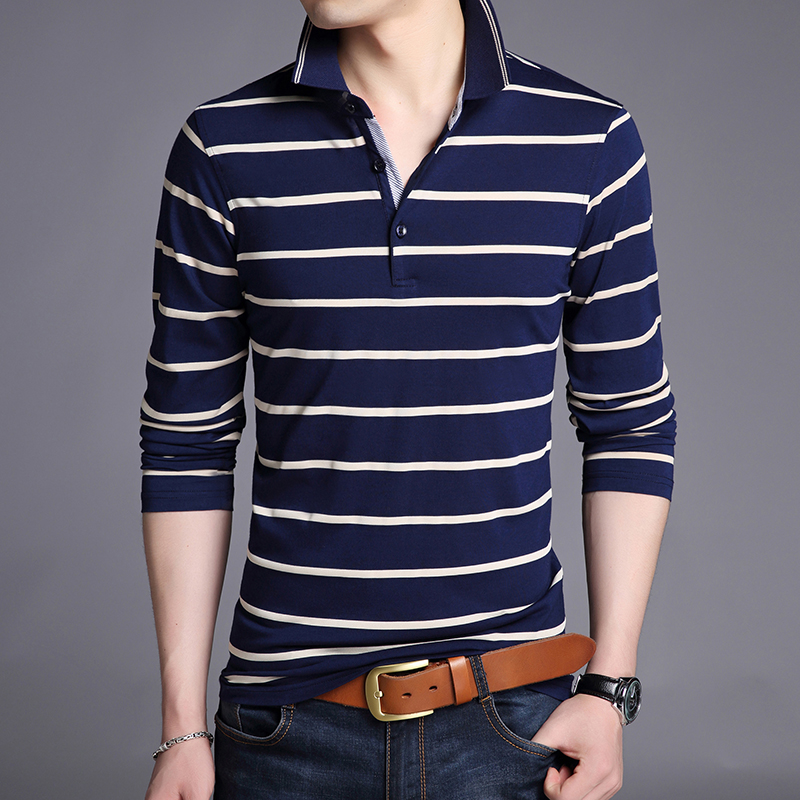 2019 Top Grade New Fashions Brand Polo Shirt Men's Striped Slim Fit Long Sleeve Cotton Stand Color Polos Casual Men Clothes