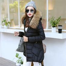 2017 зима новый Корейских Женщин мода Slim длинные хлопка с капюшоном проложенный Надьямарош воротник пальто w1233
