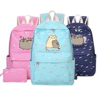Pusheen Cat Mochila Canvas Bag Unicorn Backpack For Teenagers Girls Women School Travel Shoulder Bag High