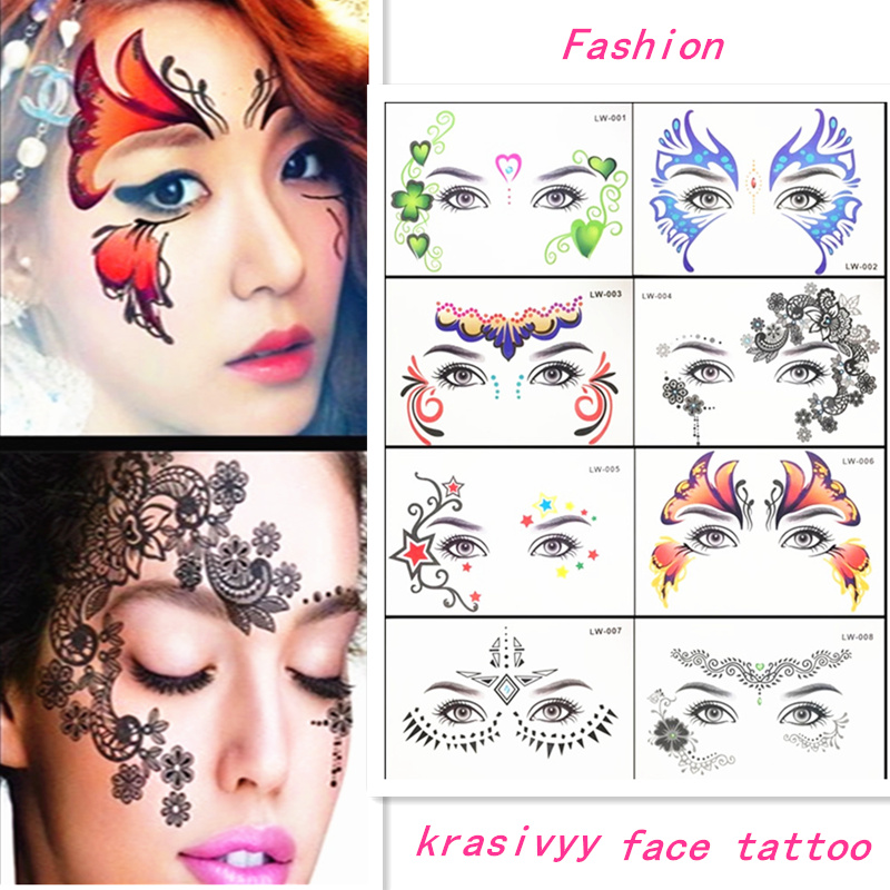 Venta caliente Masquerade flash tatuaje pegar cara pegatinas de cara temporales joyas Grandes tatuajes temporales de la India árabe maquillaje tatuaje