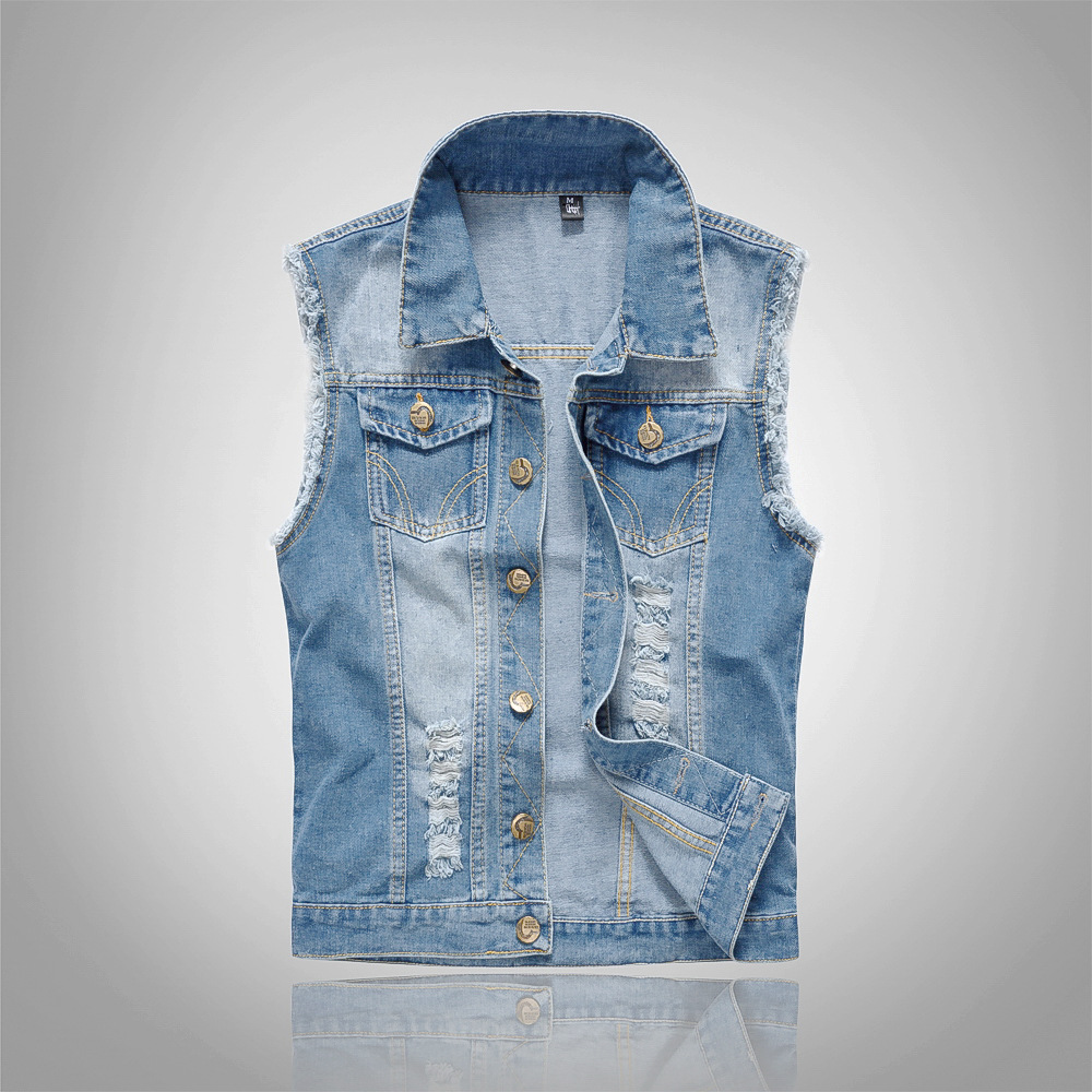 85 Free shiping plus Mens Spring Summer Autumn Mens Denim Vests Ripped Sleeveless Jeans Coat Waistcoats Tank Mens Jacket 6XL