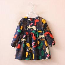 Jalairo Фирменное платье для девочек Новая осенняя одежда для девочек платье с длинными рукавами для девочки рисунком лесных Животные граффити для Детские платья