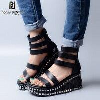 Prova Perfetto Rivets Fringe Platform Wedge Women Sandal Shoes 2018 Latest Summer Ankle Strap Leather Roma