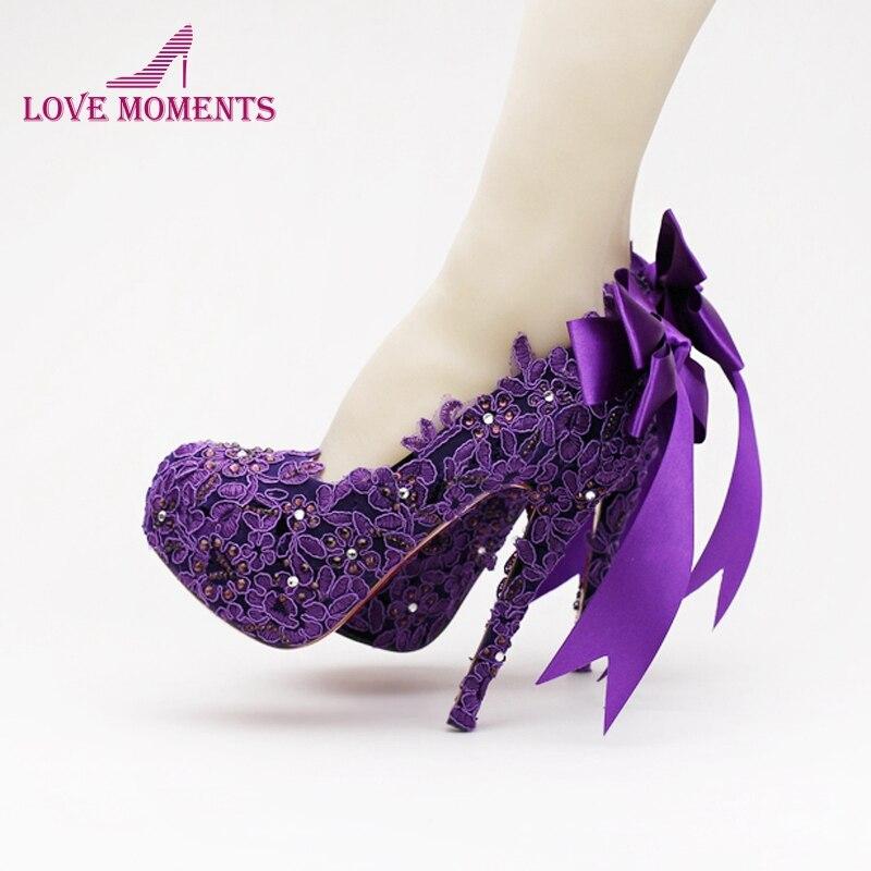 Beautiful Purple Lace Flower Bridal Shoes Ribbon Bow Wedding Shoes Fashion Platforms Crystal High Quality Women Pumps Customized fascinating falbala flower lace ribbon women s corset