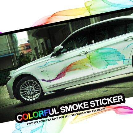 Noizzy 1 paire coloré fumée brumeuse Smog Bodykit vinyle voiture autocollants et décalcomanies SUV Crossover camion accessoires berlines voiture-style