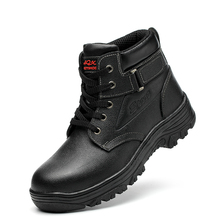 big size men casual steel toe covers work safety shoes anti-pierce soft leather spring autumn tooling security ankle boots male