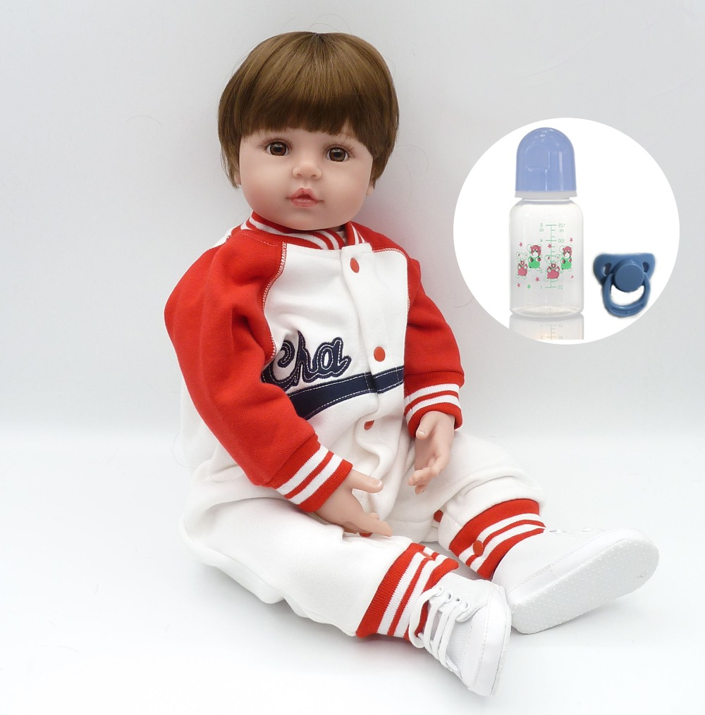58cm Silicone limbs and cloth body bebe bonecas Short hair charm baby kid Brinquedos best children playmates dollhouse toys