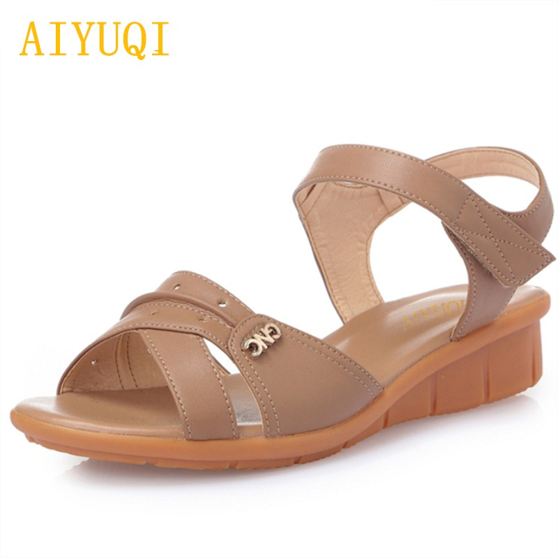AIYUQI 2018 new summer womens genuine leather sandals flat casual middle-aged mother sandals plus size 42#43#44# shoes women