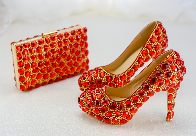 Shoes Rhinestone Customize Heels For Party Wedding Shoe Red Crystal Round Toe Pumps Bag Set Bride Shoe Plus SizeShoes Rhinestone Customize Heels For Party Wedding Shoe Red Crystal Round Toe Pumps Bag Set Bride Shoe Plus Size