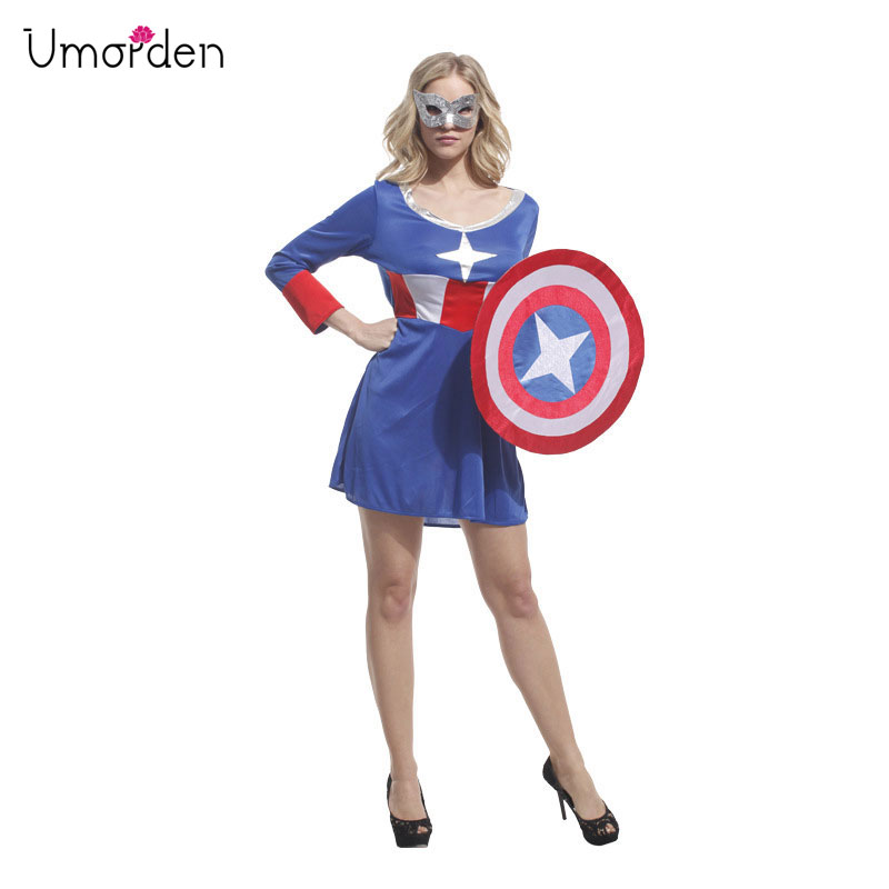 Umorden Halloween Costumes Adult Woman Super Hero Captain America Costume Dress With Shield Cosplay Clothes For Women