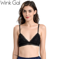 Wink Gal 2017 New Sexy Women Bralette Embroidery Lace Plunge Bra Spaghetti Strap Triangle Comfortable Ladies