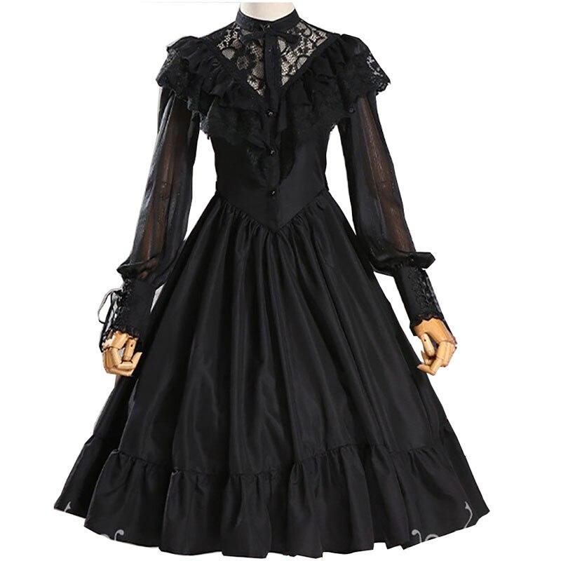 Adulte femmes gothique Costume dentelle creux nuptiale fête de mariage broderie robe Lolita princesse douce une ligne robe voile pour dames
